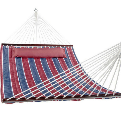 Lazy Daze Hammocks Hammock Quilted Fabric with Pillow for Two Person Double Size Spreader Bar Heavy Duty Stylish, Classic Red/Navy Stripe