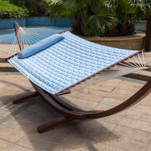 Lazy Daze Hammocks 55inch Quilted Fabric Hammock With Pillow Double Size Spreader Bar Heavy Duty Stylish ,Palm Bay Light Blue