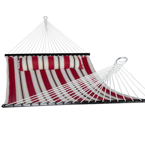 Lazy Daze Hammocks 55inch Quilted Fabric Hammock With Pillow Double Size Spreader Bar Heavy Duty Stylish,Red Stripe