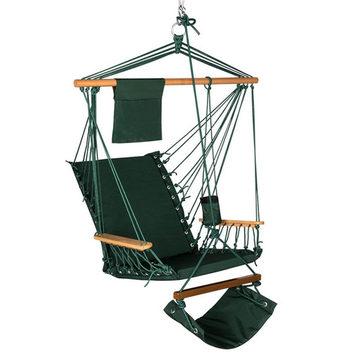 Lazy Daze Hammocks Hanging Rope Chair Cotton Padded Swing Chair Hammock Seat with Cup Holder,Footrest&Hardware for Patio Garden Outdoor Indoor, Capacity 350 lbs (Dark Green)