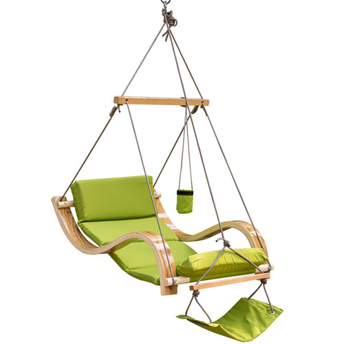Lazy Daze Hammocks Patio Garden Outdoor Deluxe Hanging Hammock Lounger Chair with Cup Holder,Footrest&Hardware, Capacity 350 lbs (Apple Green)