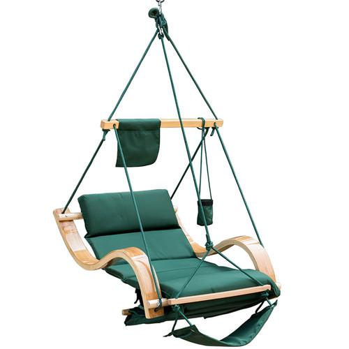Lazy Daze Hammocks Patio Garden Outdoor Deluxe Hanging Hammock Lounger Chair with Cup Holder,Footrest&Hardware, Capacity 350 lbs (Dark Green)