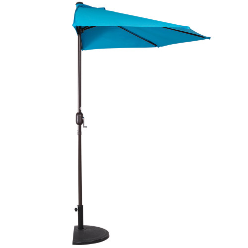 9 Feet Steel Half Patio Umbrella With Crank, 5 Steel Ribs (Lake Blue)