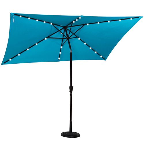 Rectangular Solar Powered 26 LED Lighted Outdoor Patio Umbrella With Crank  And Tilt, Aluminum,