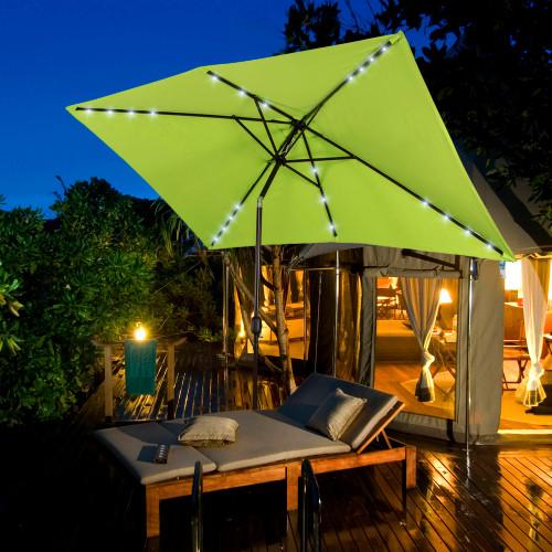 Rectangular Solar Powered 22 LED Lighted Outdoor Patio Umbrella With Crank  And Tilt, Aluminum, ...