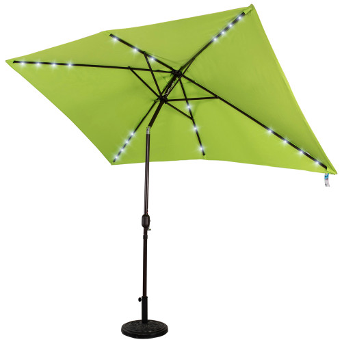 Rectangular Solar Powered 22 LED Lighted Outdoor Patio Umbrella with Crank and Tilt, Aluminum, 10 by 6.5-Feet (Apple Green)