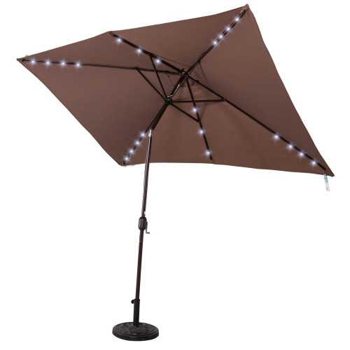 Rectangular Solar Powered 22 LED Lighted Outdoor Patio Umbrella with Crank and Tilt, Aluminum, 10 by 6.5-Feet (Coffee)