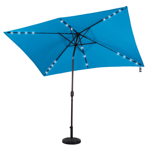 Rectangular Solar Powered 22 LED Lighted Outdoor Patio Umbrella with Crank and Tilt, Aluminum, 10 by 6.5-Feet (Lake Blue)