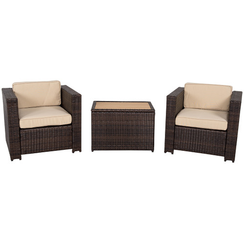 3 Piece Aluminum Wicker Chat Set - All Weather Chat Group with Cushions,Dark Brown