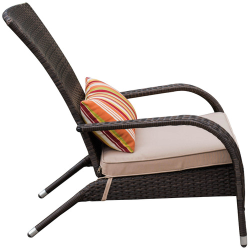 Deluxe Wicker Adirondack Chair Outdoor Patio Yard Furniture All Weather  With Cushion And Pillow