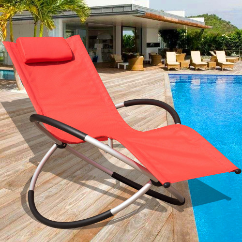 orbital zero gravity folding rocking patio lounge chair with pillow