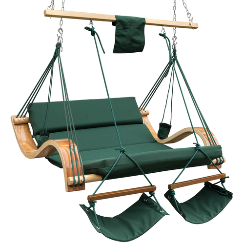 Lazy Daze Hammocks Deluxe Oversized Double Hanging Rope Chair Cotton Padded Swing Chair Wood Arc Hammock Seat with Cup Holder,Footrest&Hardware, Capacity 450 lbs (Dark Green)
