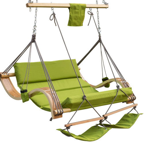 Lazy Daze Hammocks Deluxe Oversized Double Hanging Rope Chair Cotton Padded Swing Chair Wood Arc Hammock Seat with Cup Holder,Footrest&Hardware, Capacity 450 lbs (Apple Green)