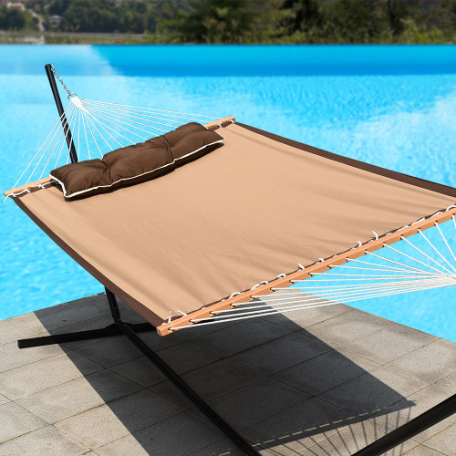 "Lazy Daze Hammocks 55"" Quick-Dry Woven Double Hammock Swing with Pillow for Two Person Heavy Duty, Tan"