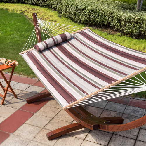 "Lazy Daze Hammocks 55"" Double Quilted Fabric Hammock Swing with Pillow for Two Person, Off-White/Green/Brown Stripe"