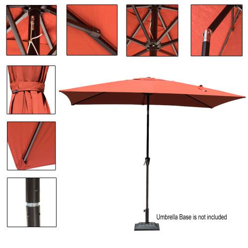 sundale outdoor 6.5 x 10 ft sunbrella® canopy rectangular umbrella patio  garden outdoor aluminum market umbrella with crank and push button tilt, 10 Ft Umbrella Base