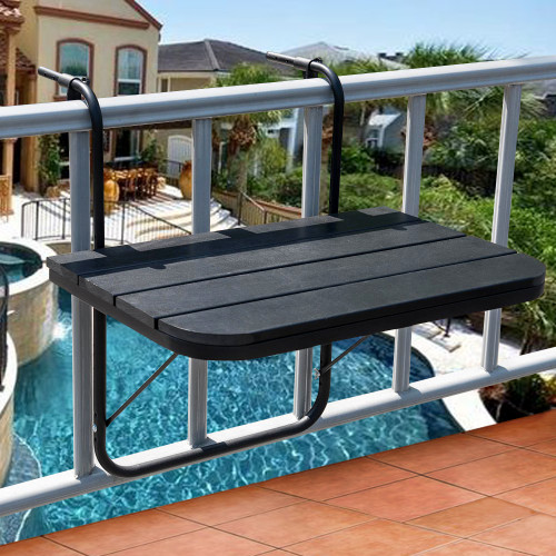 Sundale Outdoor Folding Deck Table Patio Garden Adjustable Balcony Hanging Railing Table, Black