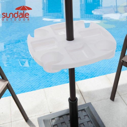 Sundale Outdoor Umbrella Table Beach Patio Accessory Table Heavy Duty, 17in Diameter, White