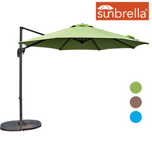 Sundale Outdoor 10ft Sunbrella® Fabric Offset Hanging Umbrella Market Patio Umbrella Aluminum Cantilever Pole with Crank Lift, Corss Frame, 360°Rotation, for Garden, Deck, Backyard (Macaw)