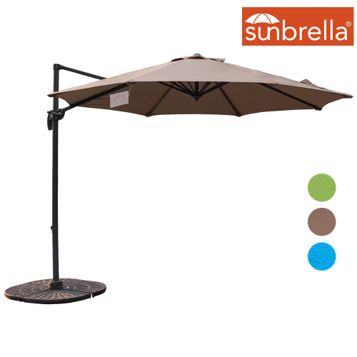 Sundale Outdoor 10ft Sunbrella® Fabric Offset Hanging Umbrella Market Patio Umbrella Aluminum Cantilever Pole with Crank Lift, Corss Frame, 360°Rotation, for Garden, Deck, Backyard (Camel)