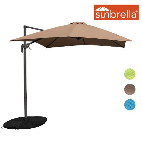 Sundale Outdoor 8.2ft Square Sunbrella® Fabric Offset Hanging Umbrella Market Patio Umbrella Aluminum Cantilever Pole with Crank Lift, Corss Frame, 360°Rotation, for Garden, Deck, Backyard (Camel)