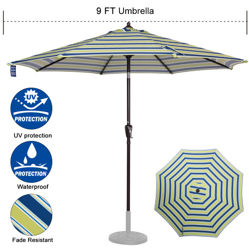 Sundale Outdoor 9 ft FadeSafe Olefin Fabric Patio Market Table Umbrella with Crank and Auto Tilt for Garden, Deck, Backyard, Pool, Solution Dyed and UV Resistant (Blue and Green Stripe)