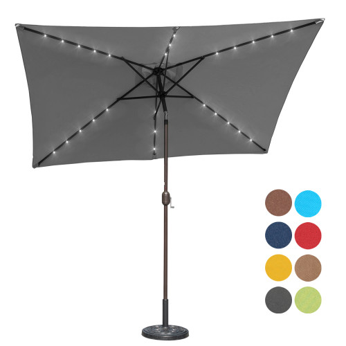 Sundale Outdoor Rectangular Solar Powered 26 LED Lighted Patio Umbrella Table Market Umbrella with Crank and Push Button Tilt for Garden, Deck, Backyard, Pool, 6 Alu. Ribs, 9 by 6.5-Feet (Gray)
