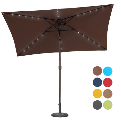 Sundale Outdoor Rectangular Solar Powered 26 LED Lighted Patio Umbrella  Table Market Umbrella With Crank And