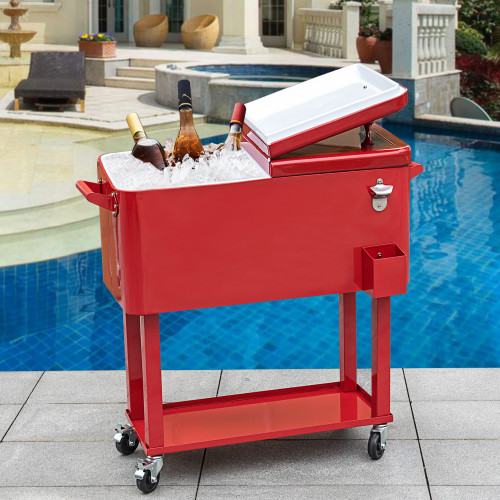 Marvelous Sundale Outdoor Deluxe 80 Quart Portable Patio Party Drink Cooler Cart With  4 Wheels,