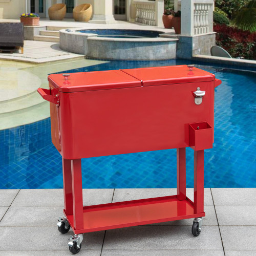 Sundale Outdoor Deluxe 80 Quart Portable Patio Party Drink Cooler Cart With  4 Wheels, ...