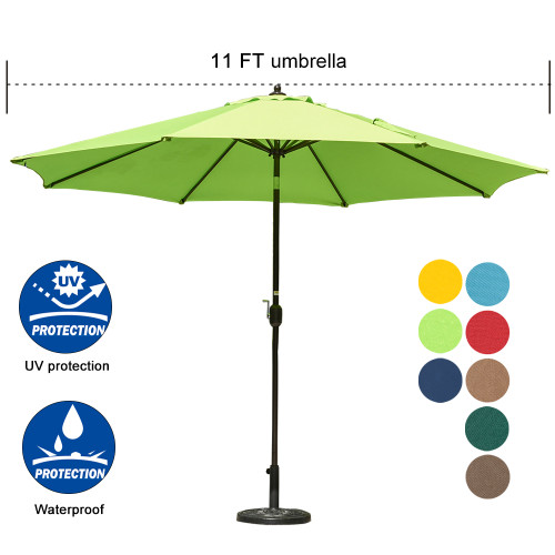 Sundale Outdoor 11 ft Aluminum Patio Umbrella Table Market Umbrella with Crank and Push Button Tilt for Graden, Deck, Backyard, Pool, 8 Steel Ribs, Polyester Canopy (Apple Green)