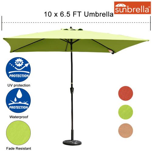 Sundale Outdoor 6.5 x 10 Ft Sunbrella® Canopy Rectangular Umbrella Patio Garden Outdoor Aluminum Market Umbrella with Crank and Push Button Tilt, Apple Green