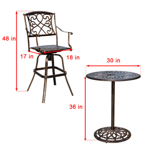 Sundale Outdoor 2 Pcs Counter Height Swivel Bar Stool And Bar Table Set All  Weather Patio