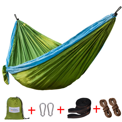 Lazy Daze Hammocks Double Parachute Nylon Hammock With Hammock Straps Set, Lightweight Portable Hammock For Camping, Backpacking, Pool, Olive Green&Light Blue