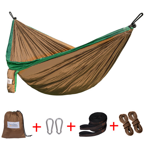 Lazy Daze Hammocks Double Parachute Nylon Hammock With Hammock Straps Set, Lightweight Portable Hammock For Camping, Backpacking, Pool, Brown&Dark Green