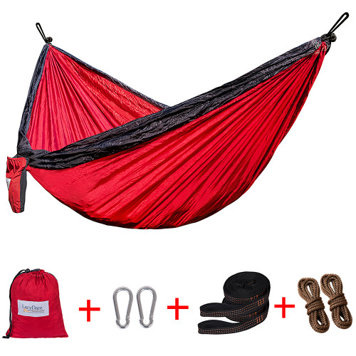 Lazy Daze Hammocks Double Parachute Nylon Hammock With Hammock Straps Set, Lightweight Portable Hammock For Camping, Backpacking, Pool, Red&Dark Grey