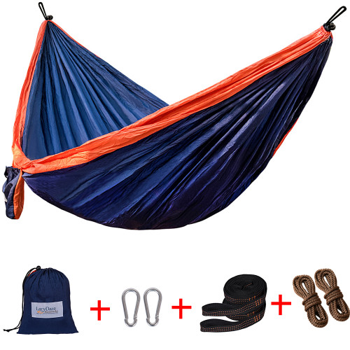 Lazy Daze Hammocks Double Parachute Nylon Hammock With Hammock Straps Set, Lightweight Portable Hammock For Camping, Backpacking, Pool, Navy Blue&Orange