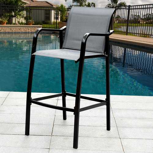 Sundale Outdoor Counter Height Bar Stool All Weather Patio Furniture With  Quick Dry Textilene Fabric