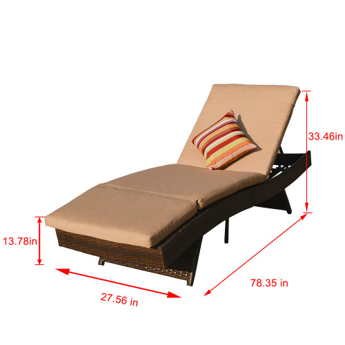 Sundale Outdoor 2PCS Deluxe Patio Adjustable Wicker Chaise Lounge Set With  Cushions And 2 Throw Pillows