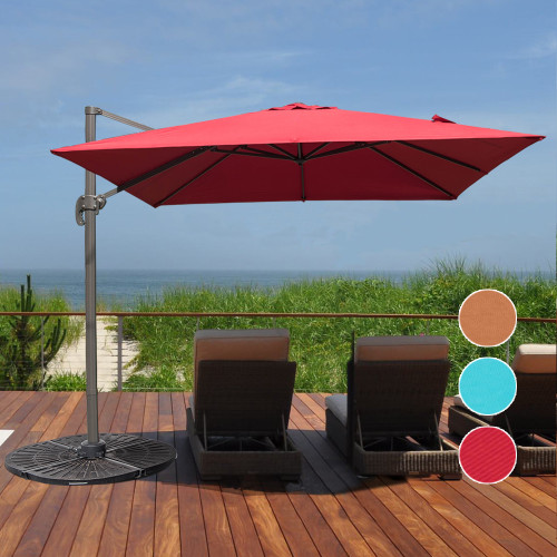 Sundale Outdoor 9.5ft Square Offset Hanging Umbrella Market Patio Umbrella  Aluminum Cantilever Pole W/