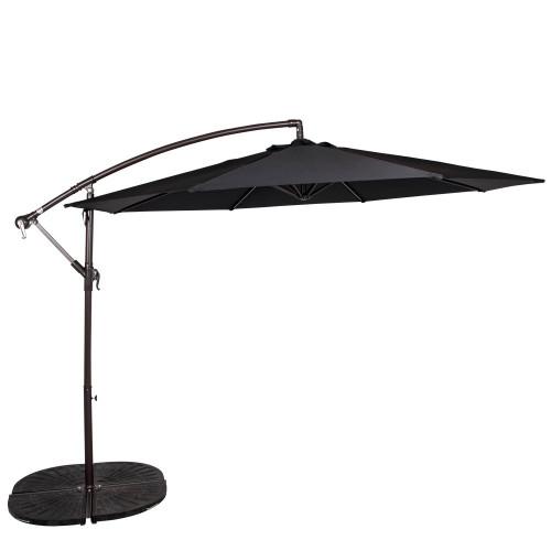 - 10 Feet Aluminum Offset Patio Umbrella(Black)