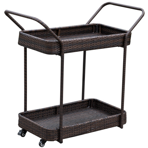 Deluxe Patio Resin Wicker Serving Cart With 4 Wheels For  Party,Picnic,Outdoors