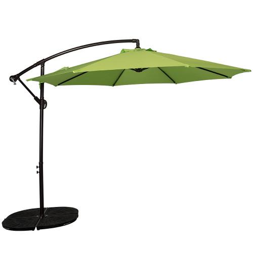 10 Feet Aluminum Offset Patio Umbrella With Crank Apple Green