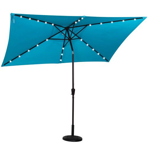 Rectangular Solar Powered 26 LED Lighted Outdoor Patio Umbrella With Crank  And Tilt, Aluminum, ...