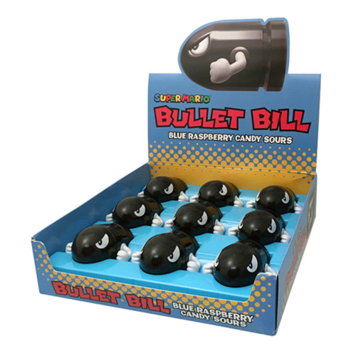 nintendo bullet bill blue raspberry sours  display of 9
