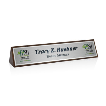 Walnut Name Plate - Metal
