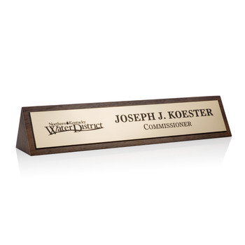 Walnut Name Plate - Plastic