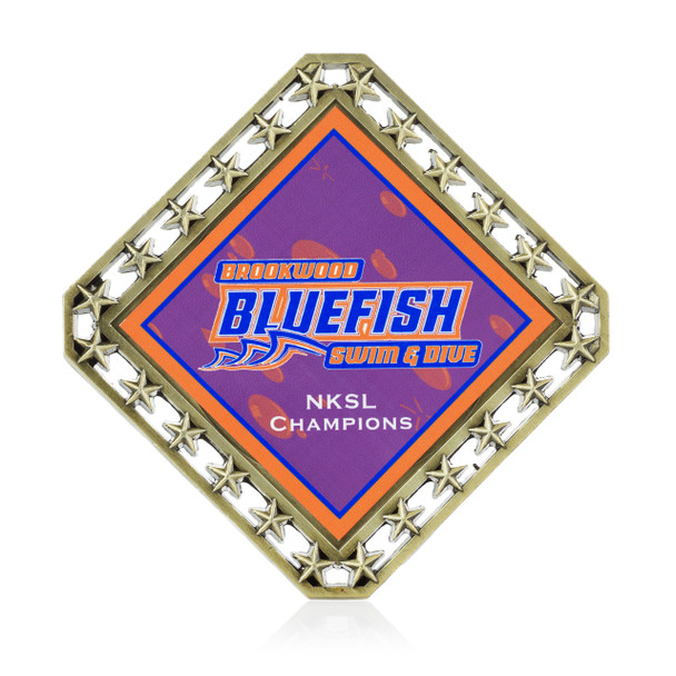 Stars Diamond Medal with Custom Metal Emblem
