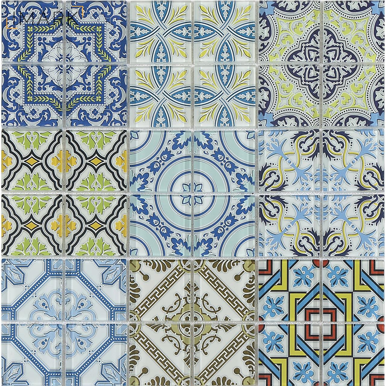 Morocco Cement Style Glass Mosaic Tile With Digital Print Backsplash ...