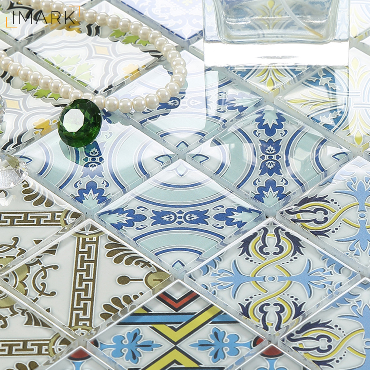 ... Morocco Cement Style Glass Mosaic Tile With Digital Print Backsplash  Tile China Mosaic Tile